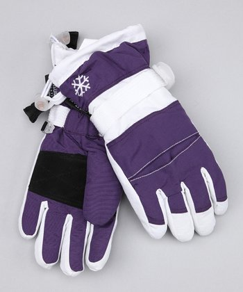 Purple & White Snowboard Gloves
