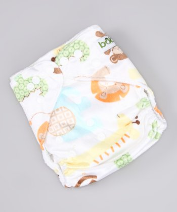 White Safari Minky Pocket Diaper
