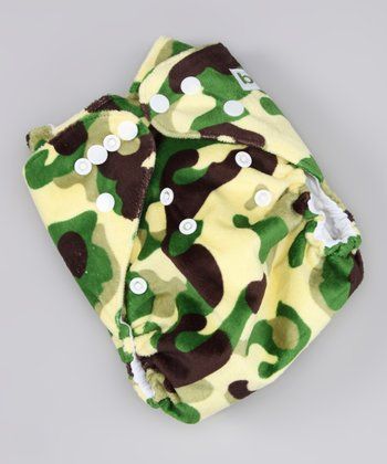 Green & Brown Camouflage Minky Pocket Diaper