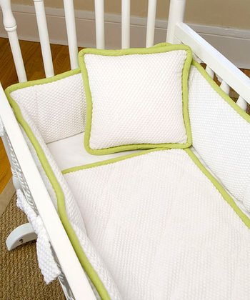 Lime & White Mod Frog Three-Piece Cradle Bedding Set