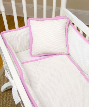Strawberry & White Mod Frog Three-Piece Cradle Bedding Set