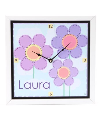 Soft Flowers Personalized Art Clock