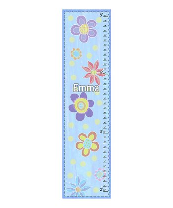 Blue Floral Personalized Growth Chart