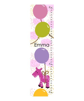 Pink Zebra Personalized Growth Chart
