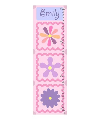 Little Flowers Personalized Growth Chart Canvas