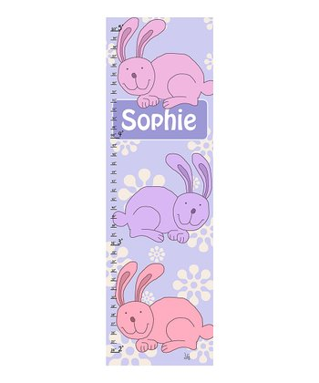 Playing Bunnies Personalized Growth Chart Canvas