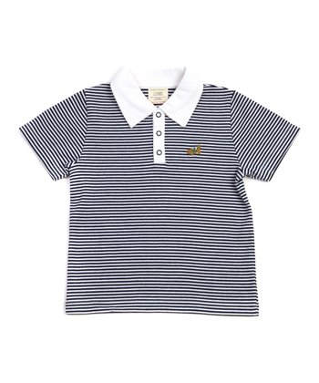 Green Nippers Navy Stripe Organic Polo - Infant, Toddler & Kids