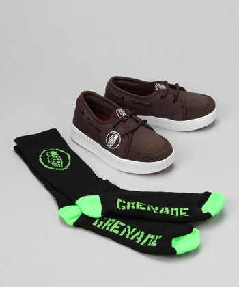 Grenade Brown Isshoe Boat Shoe & Socks