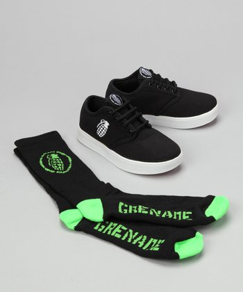 Grenade Black Slip-On Sneaker & Socks