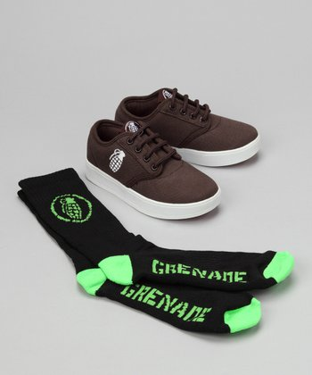 Grenade Brown Slip-On Sneaker & Socks