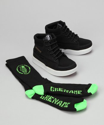 Grenade Black Isshoe Hi-Top Sneaker & Socks