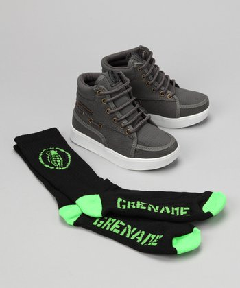 Grenade Gray Isshoe Hi-Top Sneaker & Socks