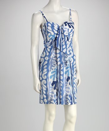 Blue & White Drape-Front Dress