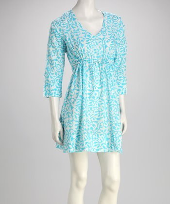 Turquoise Tulip Vine Dress