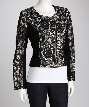 Almond Lace Zip-Up Jacket