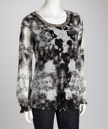 Gray Abstract Sheer Top