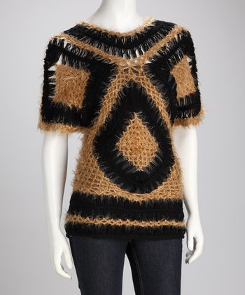 Black & Goldenrod Crocheted Wool-Blend Sweater