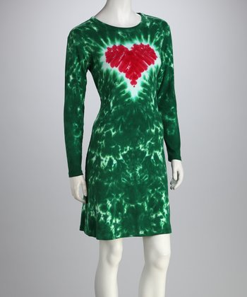 Green & Red Heart A-Line Dress - Women