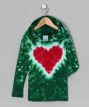 Green & Red Heart Hooded Thermal Tee -Toddler & Girls