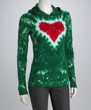 Green & Red Heart Hoodie - Women