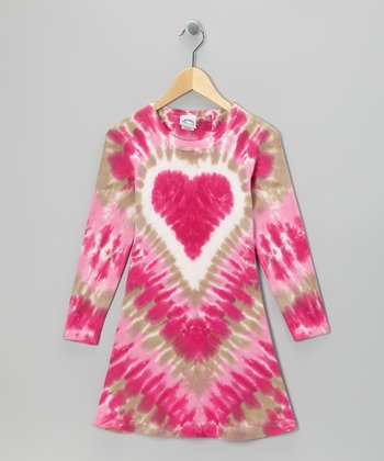 Raspberry Heart Tie-Dye A-Line Dress - Toddler & Girls