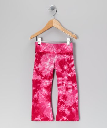 Pink & Fuchsia Crackle Yoga Pants - Toddler & Girls