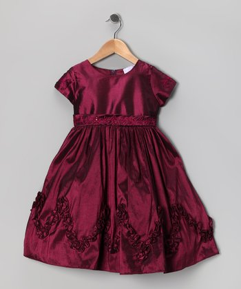 Wine Ruffle Dress - Toddler & Girls