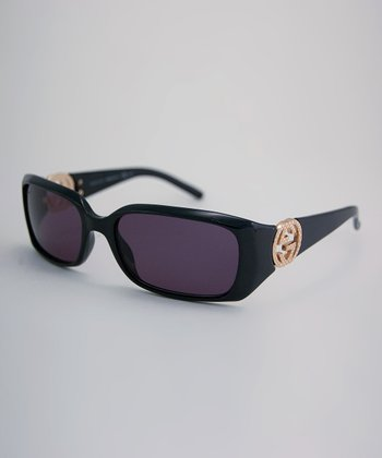 Black Gilded Logo Sunglasses