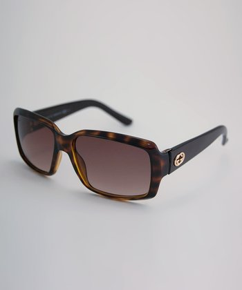 Dark Brown Tortoise Mini Logo Sunglasses