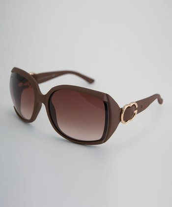 Caramel Textured Logo Buckle Square Sunglasses