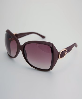 Bordeaux Textured Logo Buckle Sunglasses