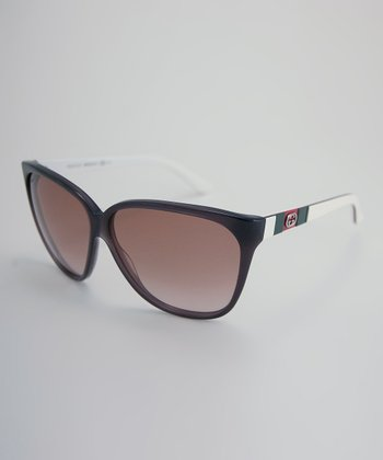 Brown & White Double 'G' Mini Logo Sunglasses