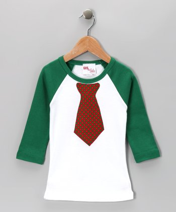 Green Tie Raglan Tee - Toddler & Boys