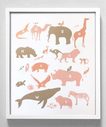 Pink & Gray Alphabet Animals Print