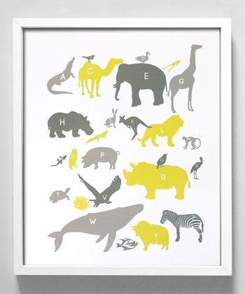 Yellow & Gray Alphabet Animals Print