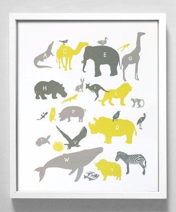 Yellow & Gray Alphabet Animals Print