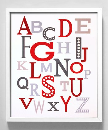 Red & Gray Modern Alphabet Print