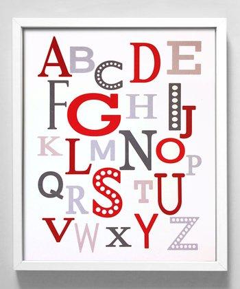 Red & Gray Modern Alphabet Print