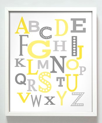 Yellow & Gray Modern Alphabet Print