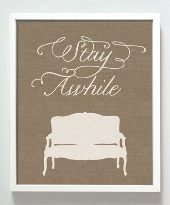 Burlap 'Stay Awhile' Print