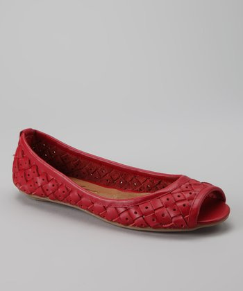Red Cori Peep-Toe Flat