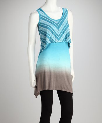 Blue & Gray Chevron Tie-Back Tunic