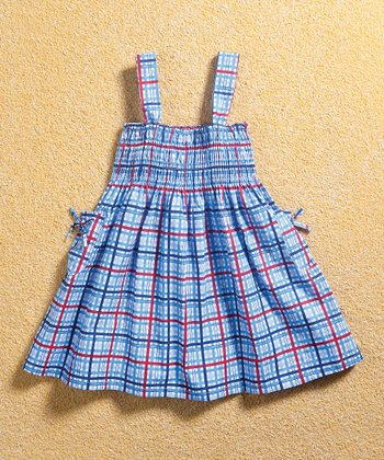 Blue Checkerboard Smocked Dress - Infant, Toddler & Girls