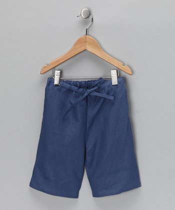 Denim Blue Linen Shorts - Infant & Toddler