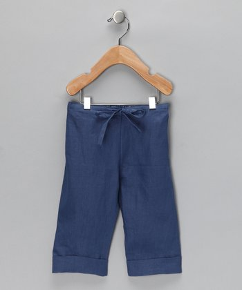 Denim Blue Linen Cuffed Pants - Infant & Toddler