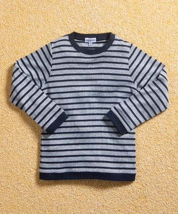 Navy & Gray Stripe Tee - Infant, Toddler & Boys