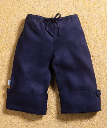 Navy Linen Sailor Pants - Girls