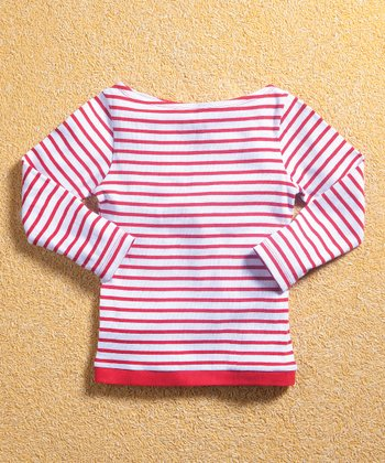 Red & White Stripe Boatneck Tee - Infant, Toddler & Girls