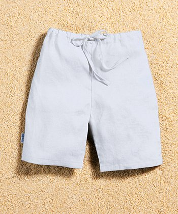 White Linen Drawstring Shorts - Infant & Toddler