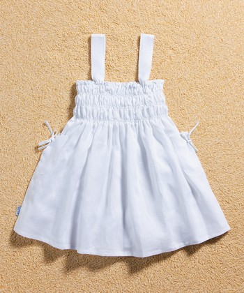 White Linen Smocked Dress - Infant, Toddler & Girls